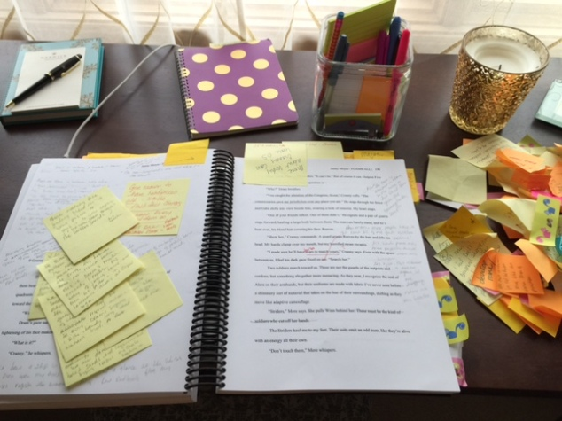 My FLASHFALL manuscript in the midst of structural revisions. Sticky-note pile are completed edits!